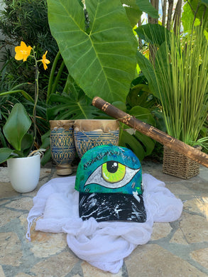 Hand painted hat / Colorful One Eye Vision Funky Style