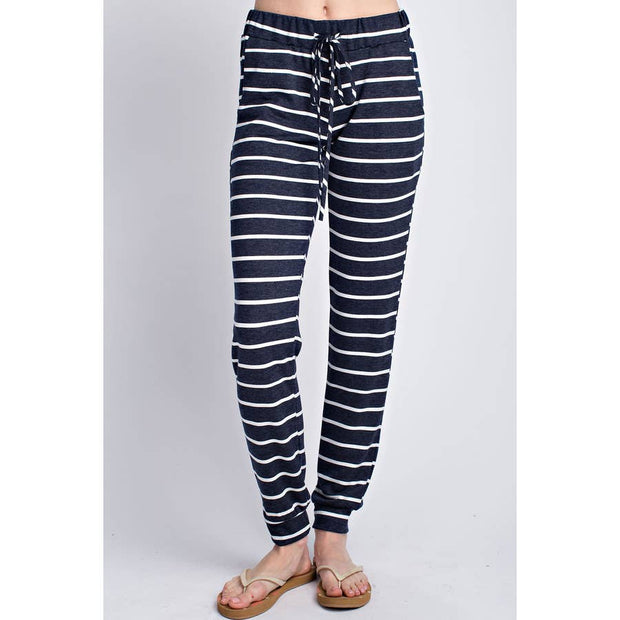 Maternity + Postpartum Striped Lounge Joggers in Navy