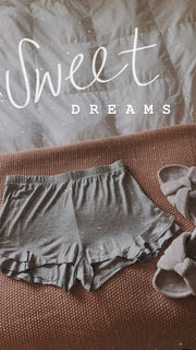 Maternity + Postpartum Sweet Dreams Ruffle Sleep Shorts in Gray