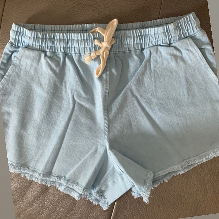 Maternity + Postpartum Chambray Denim Drawstring Shorts