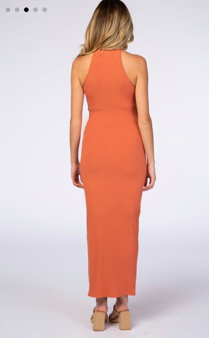 Maternity + Postpartum Fitted Ribbed Maxi Dress in Ginger