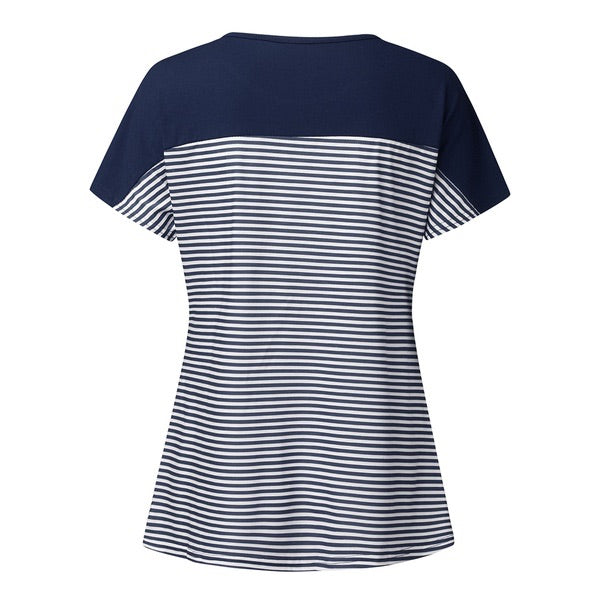 Maternity + Nursing Navy Stripe Top