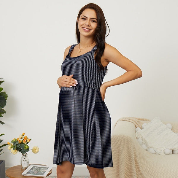 Maternity + Nursing Pinstripe Dress