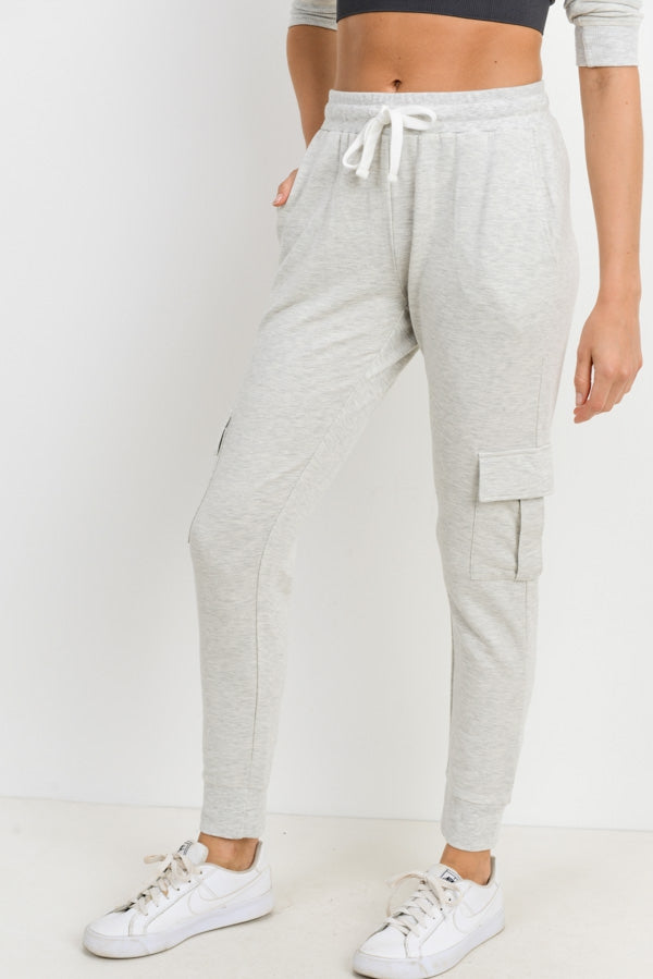 Maternity + Postpartum Cozy Cargo Joggers in Gray