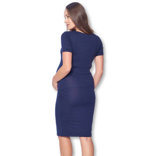 Fitted Ruched Maternity Dress in Navy