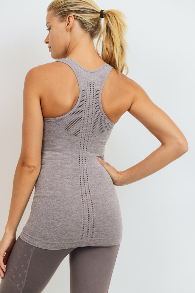 Maternity + Postpartum Fitted Active Tank Top in Mauve