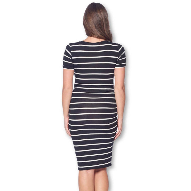 Fitted Ruched Maternity Dress in Black/White Stripe