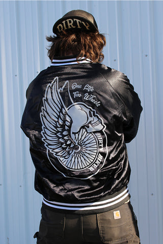 One Life, Two Wheels Satin Baseball Jacket
