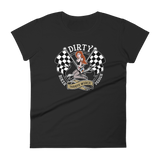 This tatted red-head babe comes in Redhead or Brunette, riding a wrench in front of dual checkered flags.