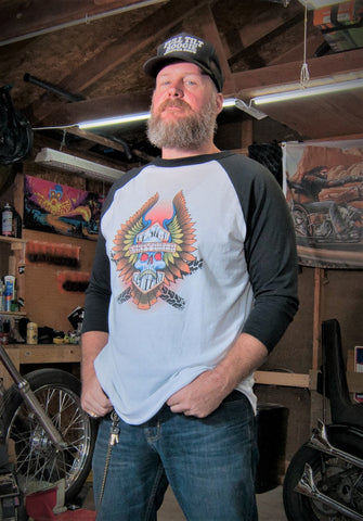Dirty Biker Bar & Shield Raglan T-shirt