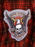 Men's One Life Two Wheels Patch Flannel Shirt