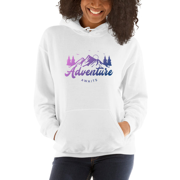 adventure awaits women's colorful hoodie