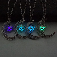 Glow in the Dark Crescent Moon & Heart Necklace