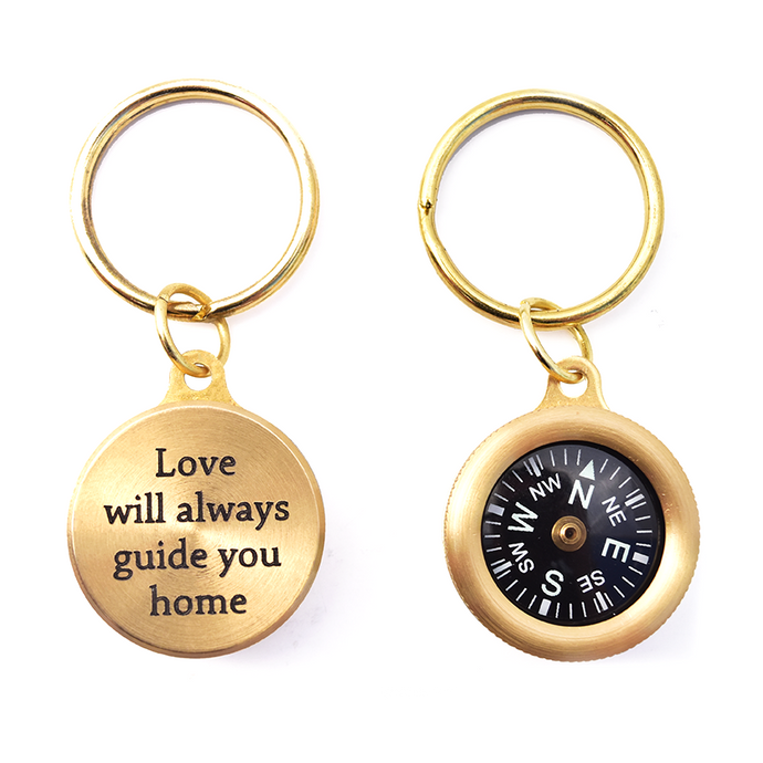 Coordinate Compass Key chain - Gift for an Traveler - OpenHaus Gifts