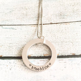 Washer necklace - Hand stamped necklace -