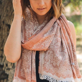 Very Soft Rust Medallion Print Frayed Long Scarf