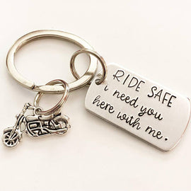 Motorcycle keychain - Ride safe - Gift for biker -