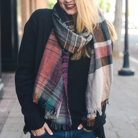 Beautiful Black Mix Plaid Winter Long Fringe Scarf