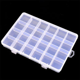 24 Slots Transparent Plastic Jewelry Storage Box