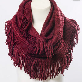 Beautiful Pointelle Fringe Infinity Scarf - Comes