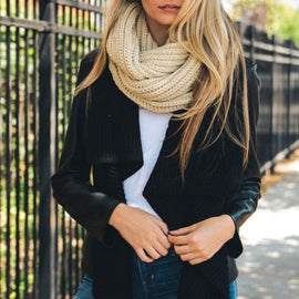 Beautiful Ivory Chunky Braided Infinity Scarf