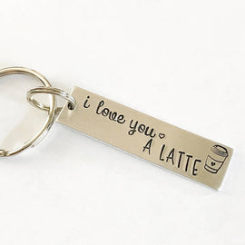 I love you a latte - Hand stamped keychain -