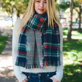 Navy Blue & Green Classic Plaid Blanket Scarf