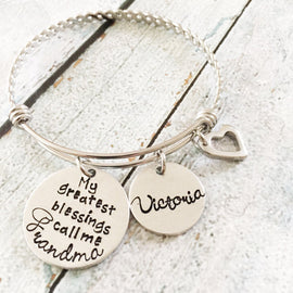 My greatest blessings - Hand stamped bracelet -