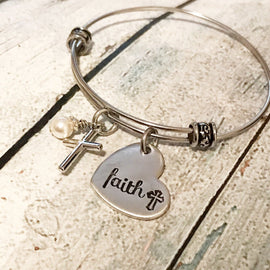Faith bracelet - Cross bracelet - Hand stamped