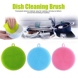 3Pcs Silicone Dish Washing Sponge Scrubber Kitchen