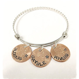 Customized penny bracelet, necklace, or keychain