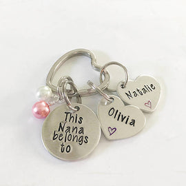 Grandmother keychain - Hand stamped keychain -