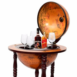"36"" Wood Globe Rolling Wine Rack Bar Stand"