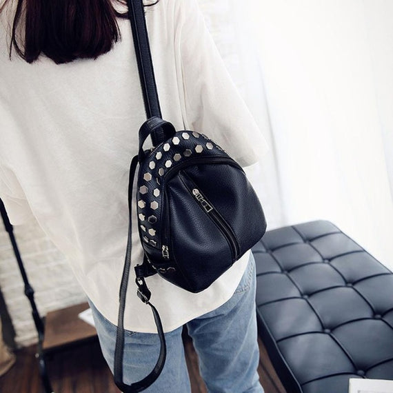 Rivet Backpack School Bags Women Famous Brands