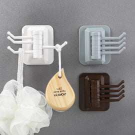 Rotary 4-Hook kitchen bathroom wall rack towel