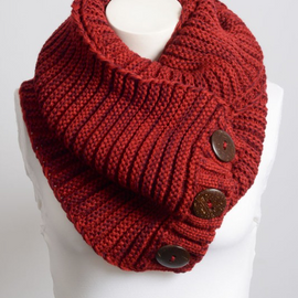 Red Knit Button Infinity Scarf