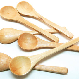 6 Small Wood Spoons for Honey, Jam, Sugar