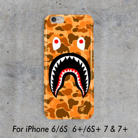 Orange Camo Bathing Ape BAPE Shark iPhone case