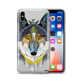 Geometric Wolf - Clear TPU Case Cover