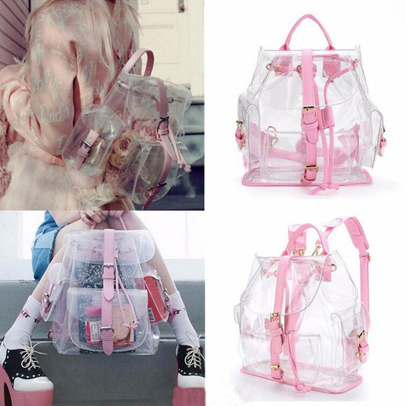 top brand Backpack Women Clear Plastic See Through