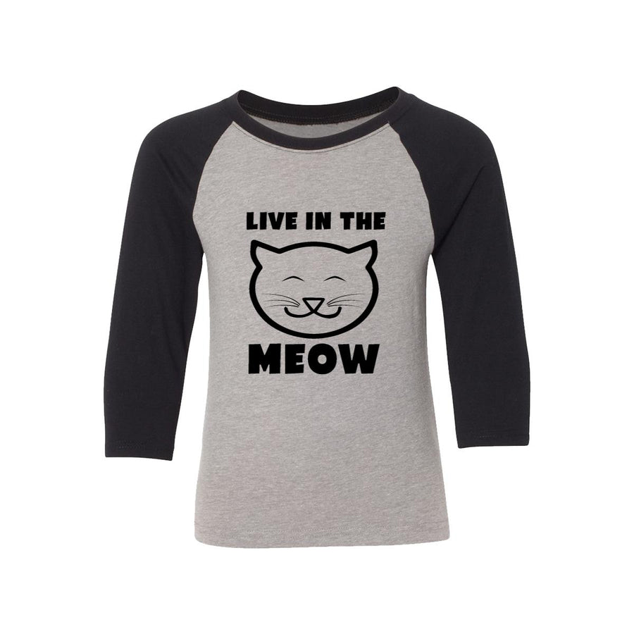 Live In The Meow Kids Baseball Shirt