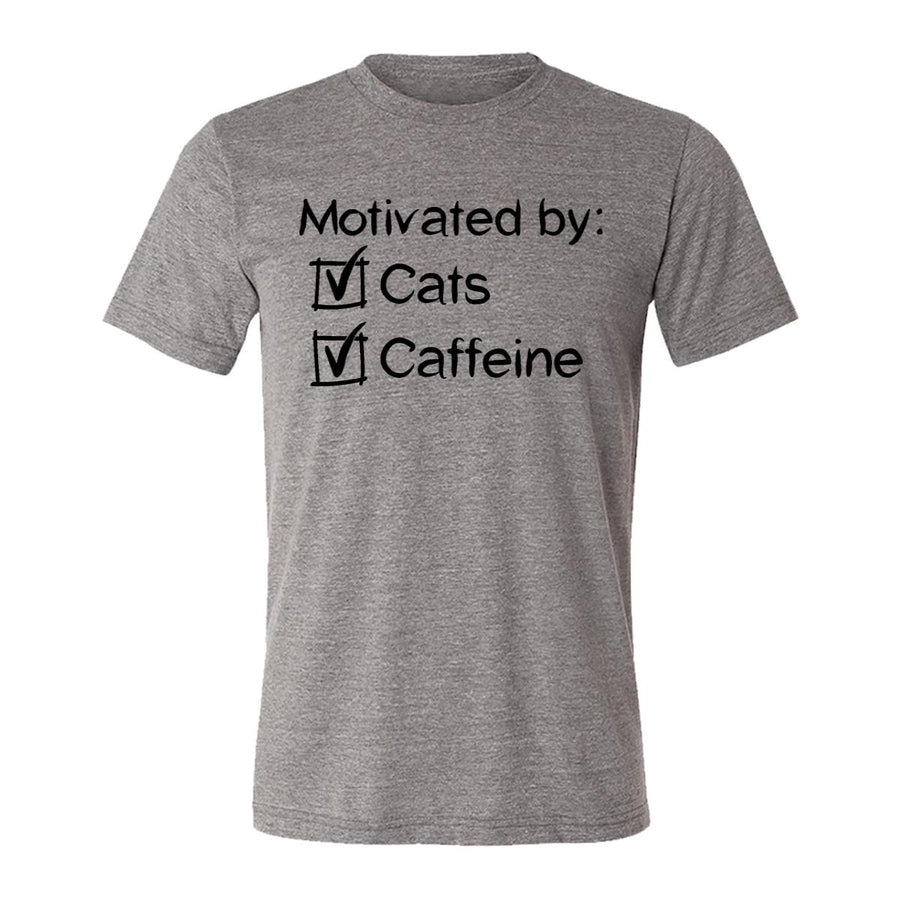 Motivated By Cats And Caffeine Adult Tee Shirt