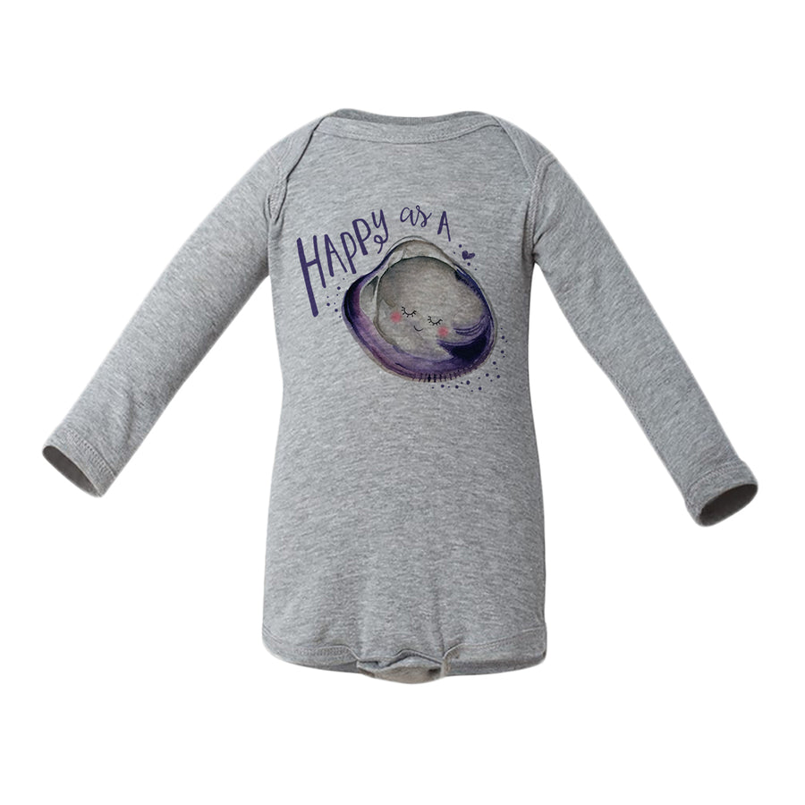 Happy As A Clam Baby Long-Sleeve Onesie