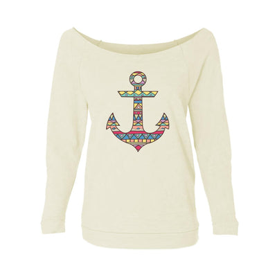 Aztec Pattern On Anchor Womens Raw-Edge Scoop Neck Sweater