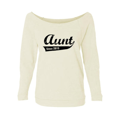 Aunt Since 2015 Womens Raw-Edge Scoop Neck Sweater