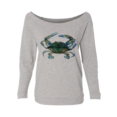 Blue Claw Crab Womens Raw-Edge Scoop Neck Sweater