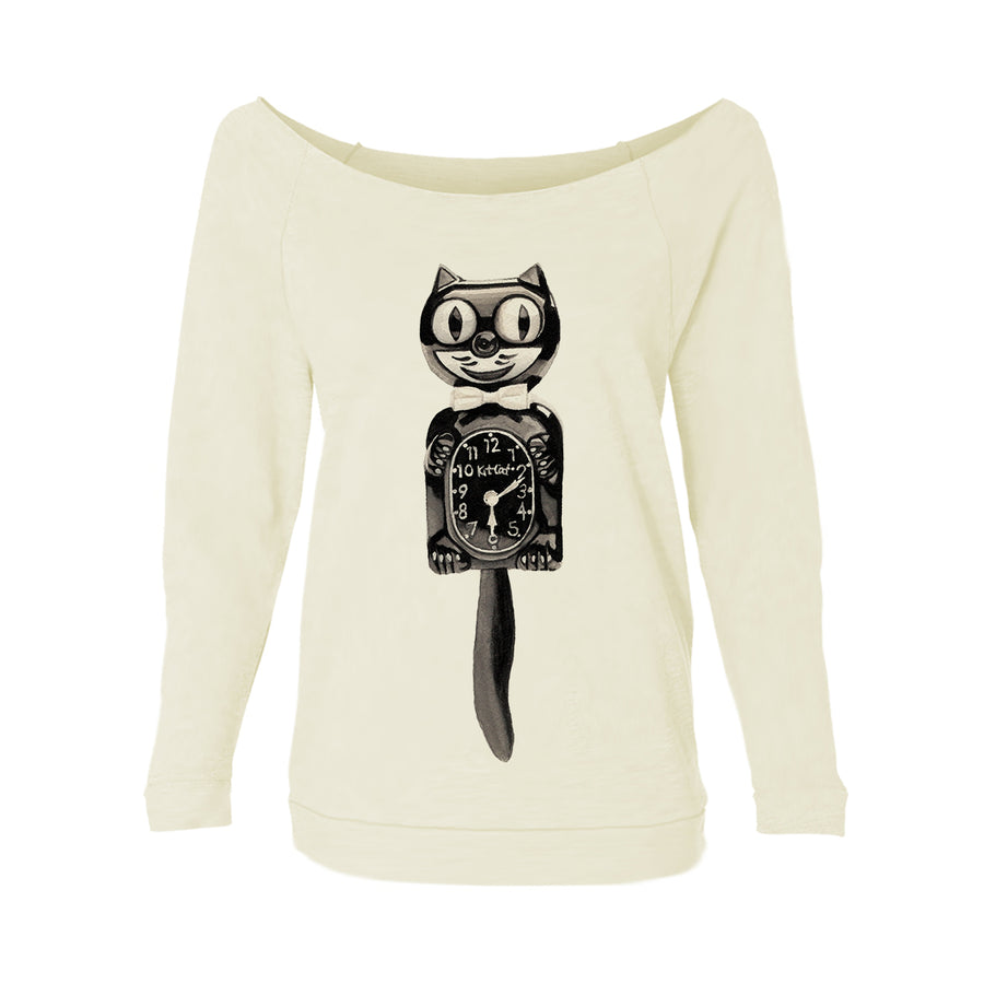 Cat Clock Womens Raw-Edge Scoop Neck Sweater