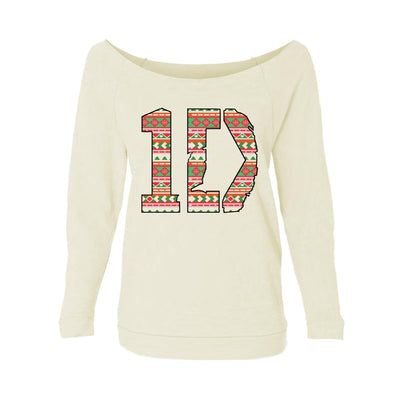 Christmas-Theme 1D Womens Raw-Edge Scoop Neck Sweater