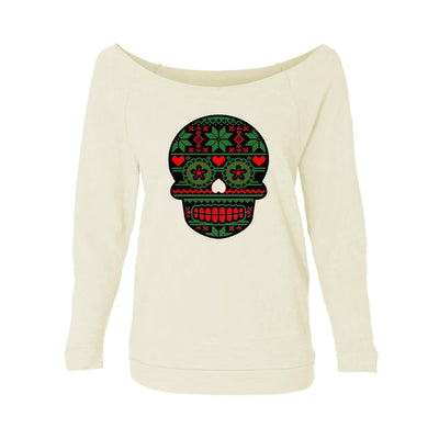 Christmas-Theme Skull Sketch Womens Raw-Edge Scoop Neck Sweater