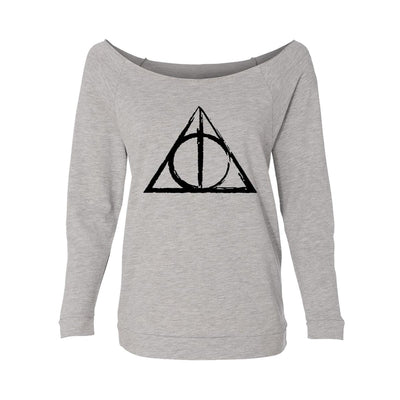 Deathly Hallows Sketch Womens Raw-Edge Scoop Neck Sweater